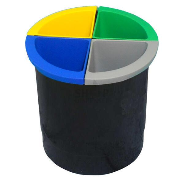 WASTE PAPER BIN BLACK LT 13 WITH 4 CONTAINERS