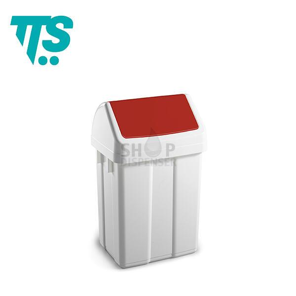 MAX- 25 LT PLASTIC BIN WITH RED SWINGING TOP